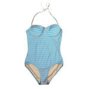 J. Crew Blue/Orange Underwire Halter Swimsuit- 6